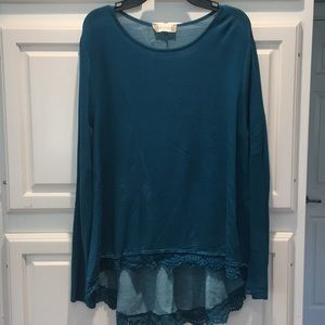 Teal long sleeve with lace Altered State top